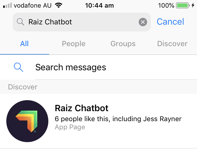 c68a6c3efbd You can find Ashlee by searching  Raiz Chatbot  on the Facebook Messenger  App.  caption id