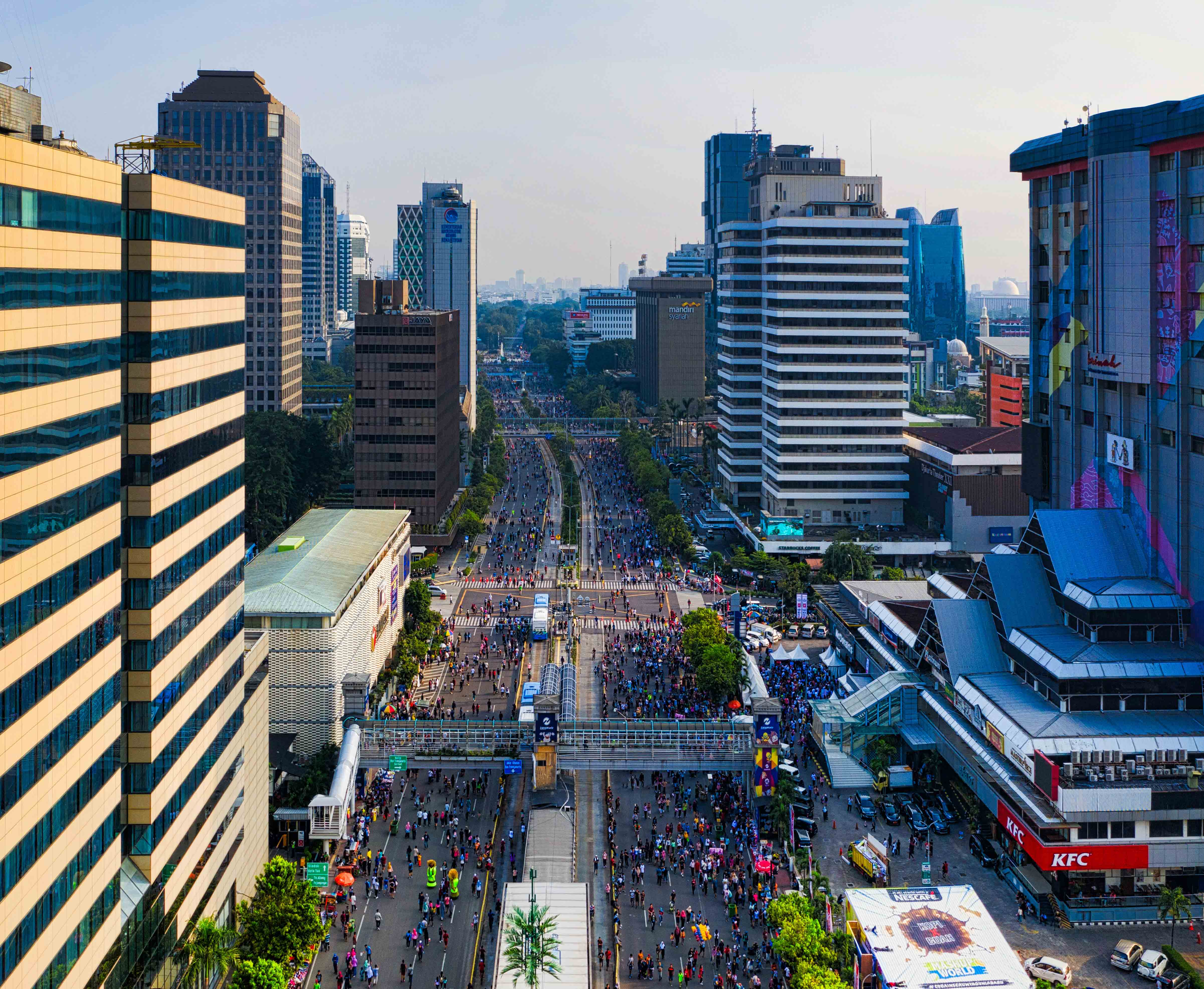 Crowded street in Jakarta, Indonesia