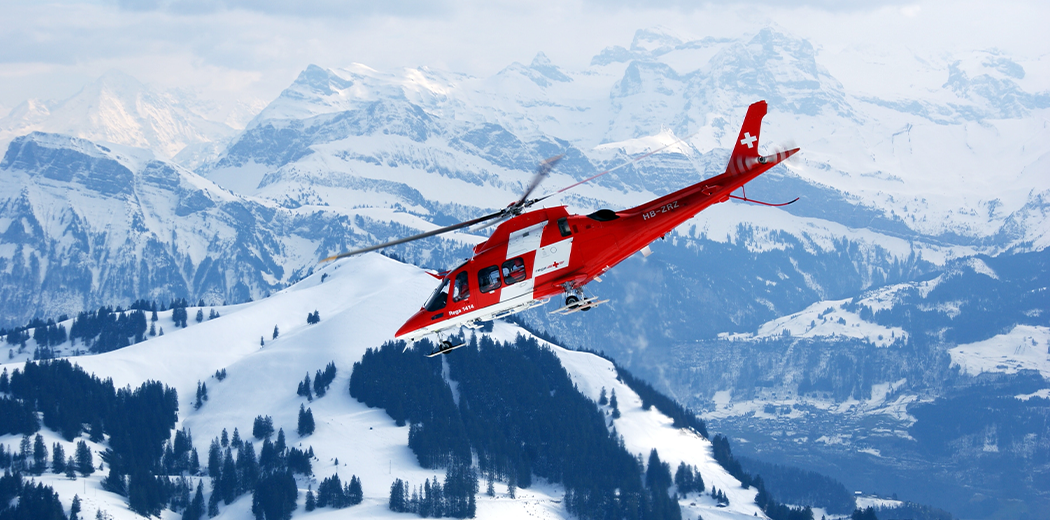 Emergency Helicoptor in Alpine Mountains