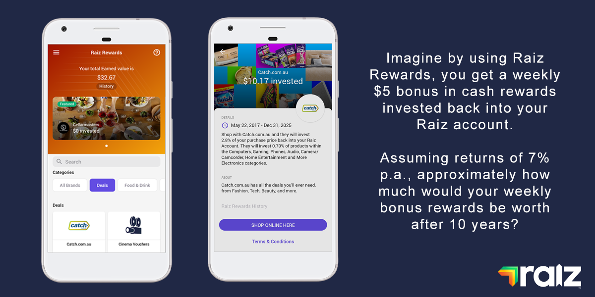 Two phone screens with Raiz Rewards on them