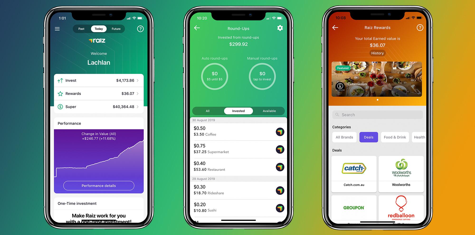 Screenshots of the revamped new Raiz app