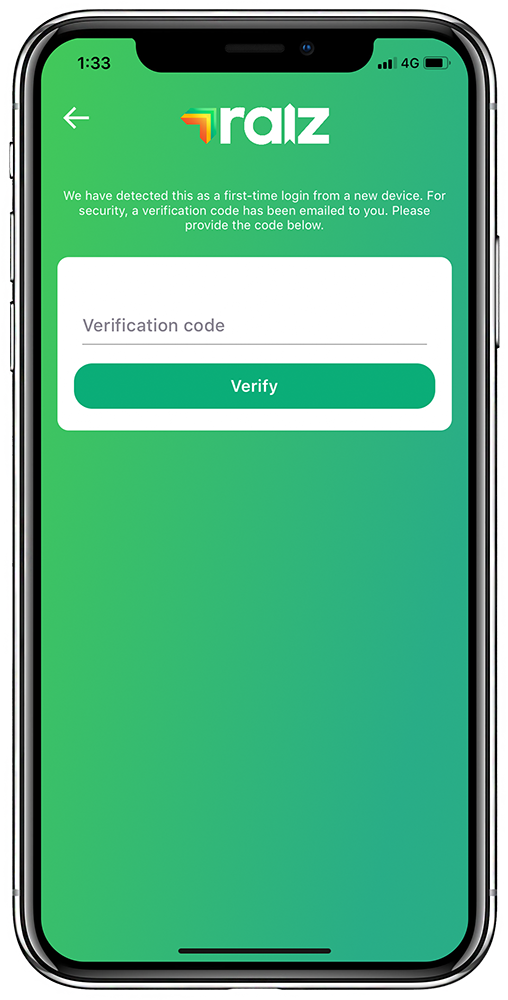 Raiz Multifactor Authentication (MFA) screen