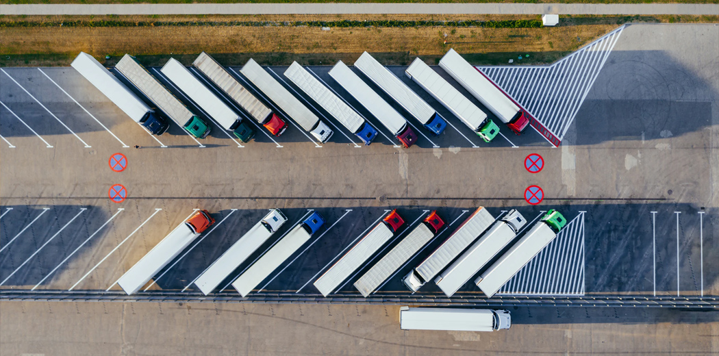 Line of parked trucks